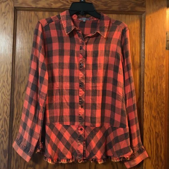 ac60336a8 Wit & Wisdom Tops | Peplum Plaid Shirt From Nordstrom | Poshmark